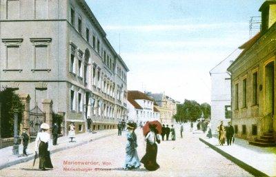 Kwidzyn - Obecna ulica Braterstwa Narodów na początku XX wieku