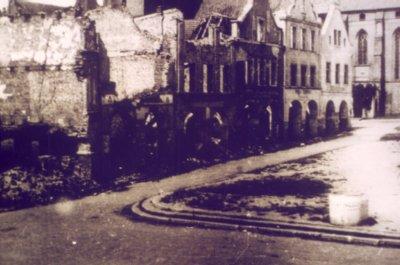 Kwidzyn w 1945 roku, ruiny spalonej przez Rosjan starówki