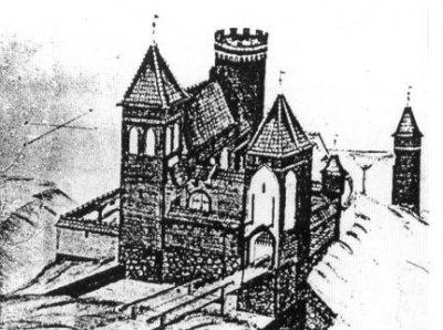 Rekonstrukcja wyglądu zameczku biskupiego na wzgórzu starozamkowym (tzw. Altschlossen)
