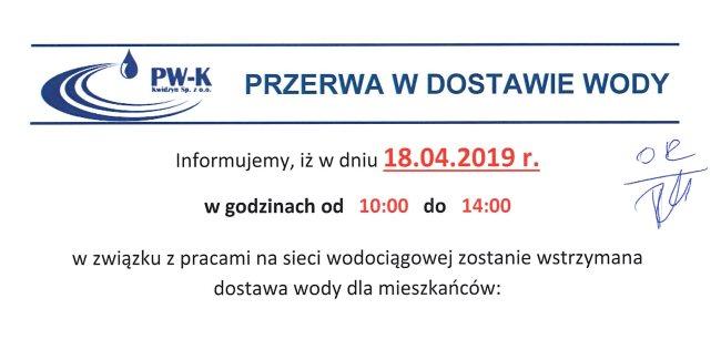 16 04 2019 przerwa w dostawie wody