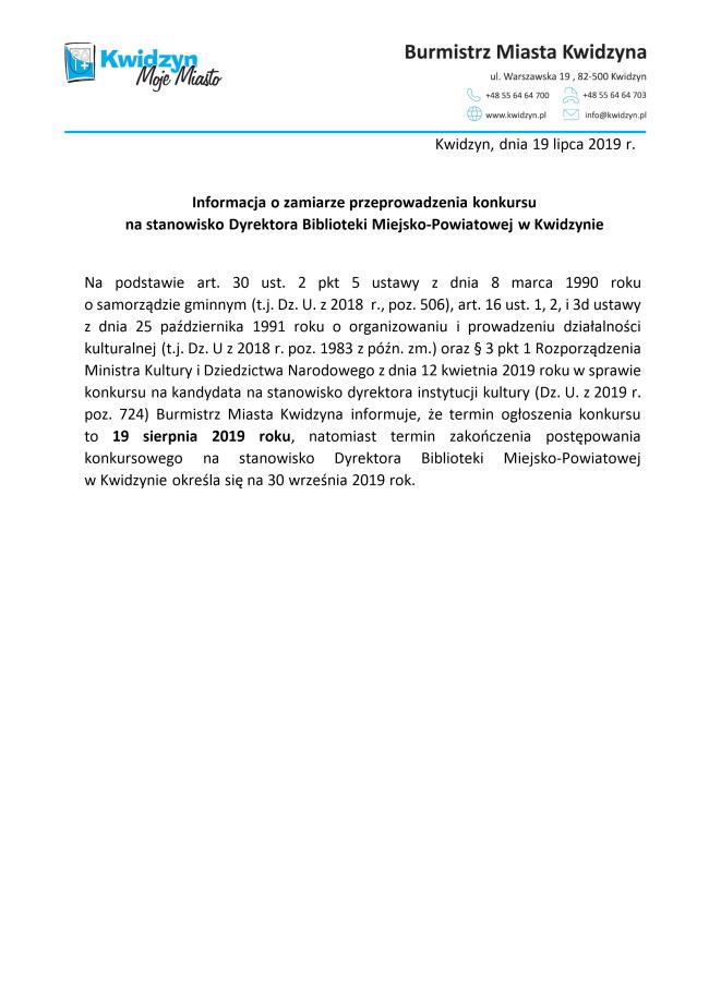 19 07 2019 konkurs na stanowisko dyrektora biblioteki