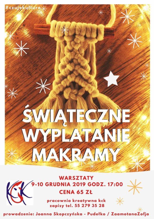 Plakat warsztatów świątecznego wyplatania makramy