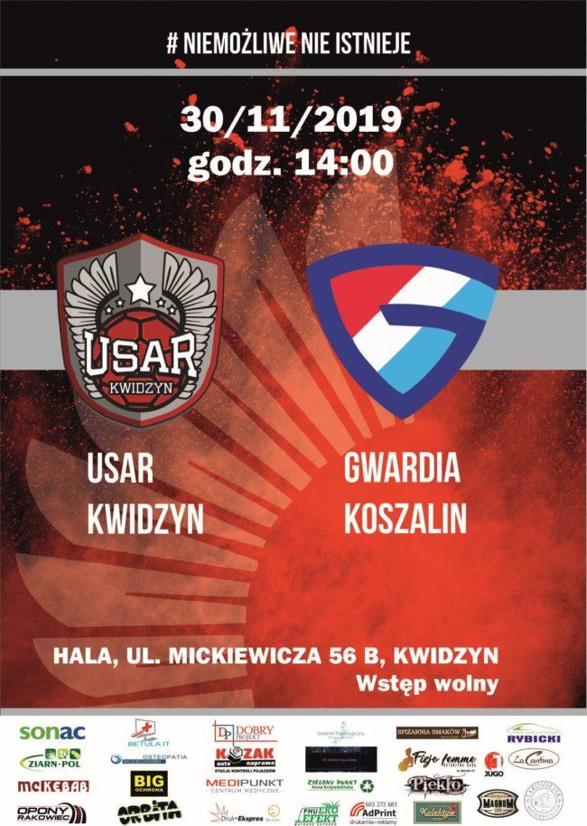Plakat meczu piłki ręcznej USAR KWIDZYN – KSPR GWARDIA KOSZALIN