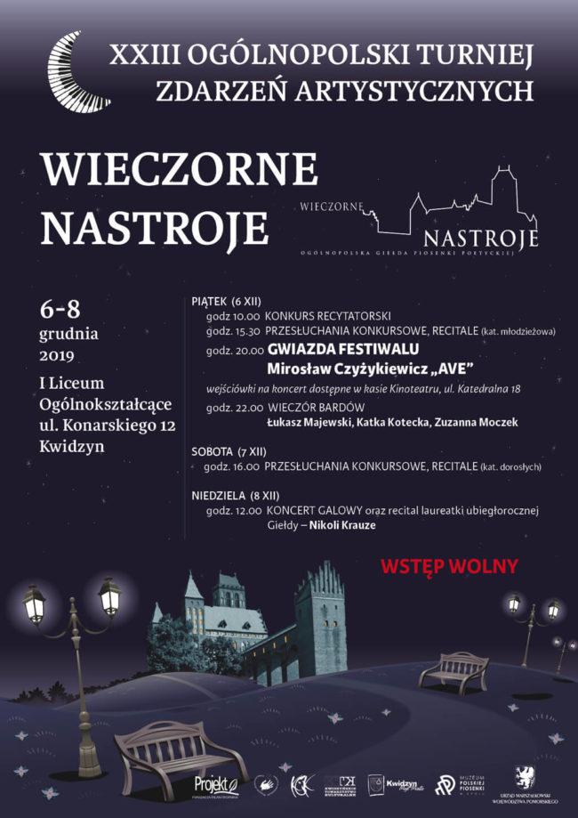 Plakat XXIII Ogólnopolskiej Giełdy Zdarzeń Artystycznych Wieczorne Nastroje
