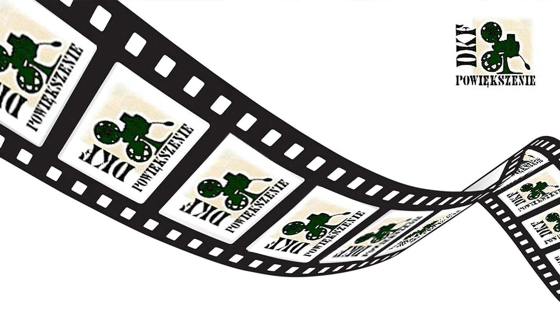 """Logo Dyskusyjnego Klubu Filmowego """"Powiększenie"""""""