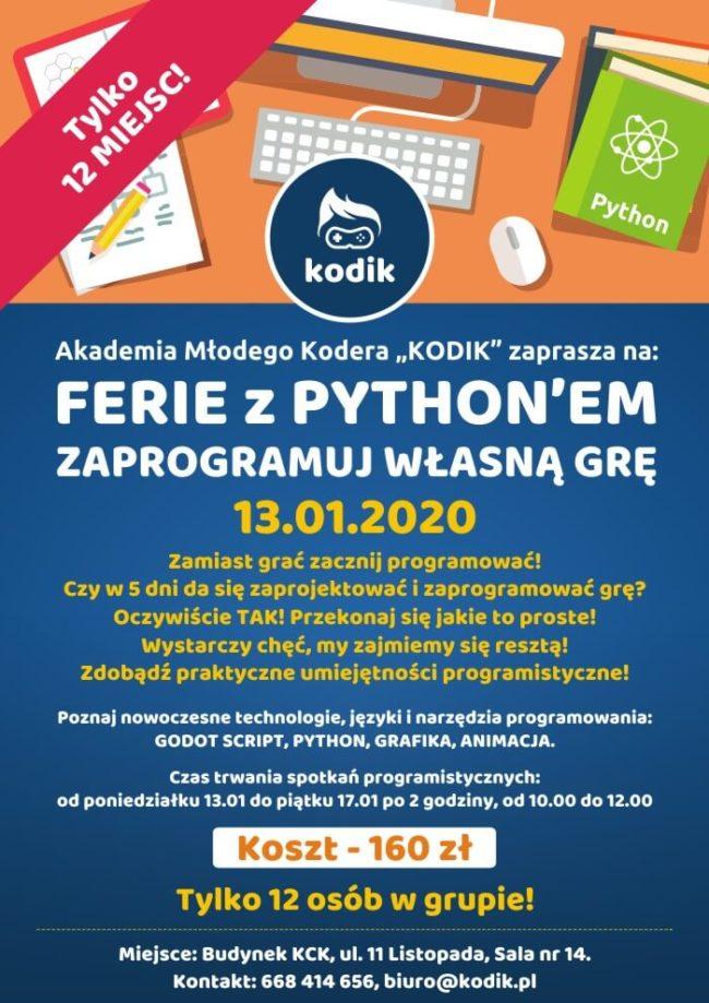 Plakat Ferii z Pythonem