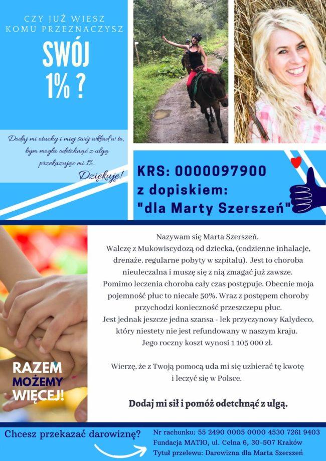 Prośba o przekazanie 1% podatku dla Marty Szerszeń