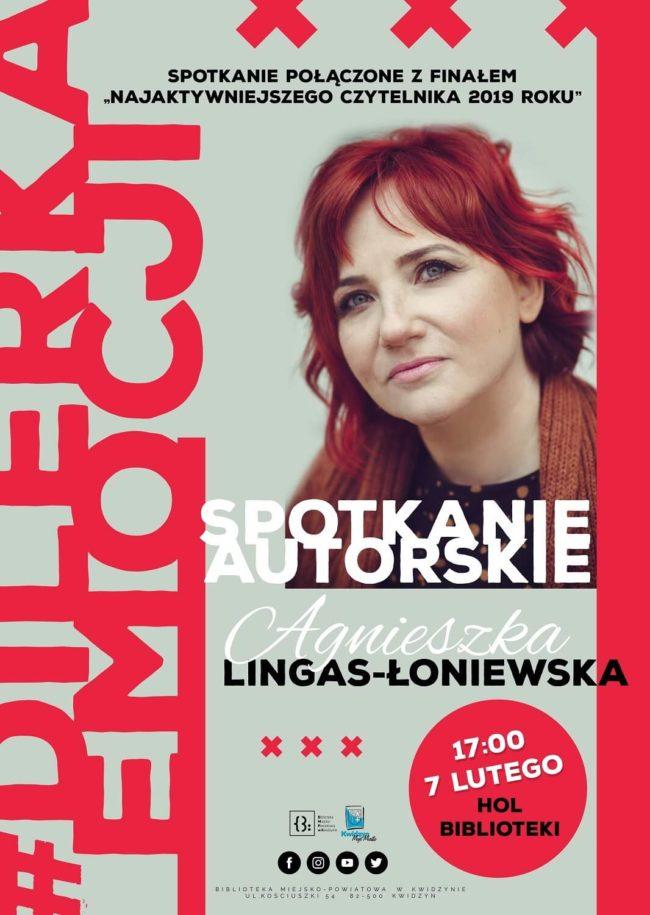 Plakat spotkania autorskiego z Agnieszką Lingas-Łoniewską
