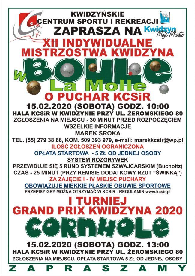 Plakat mistrzostw organizowanych przez KCSiR w lutym 2020 r.
