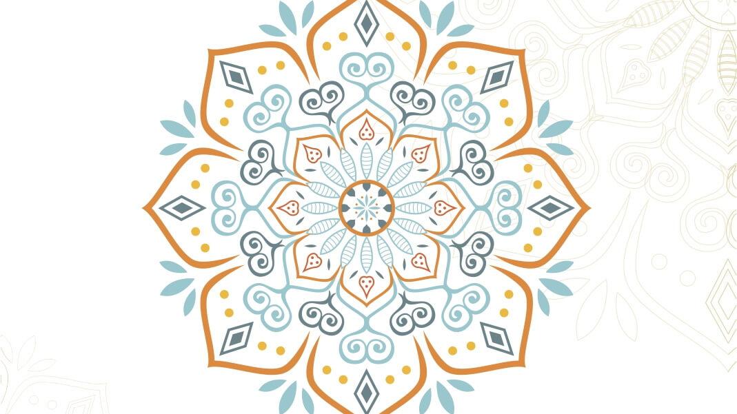 Kwiecisty wzór z plakatu wernisażu wystawy Aliny Hekny