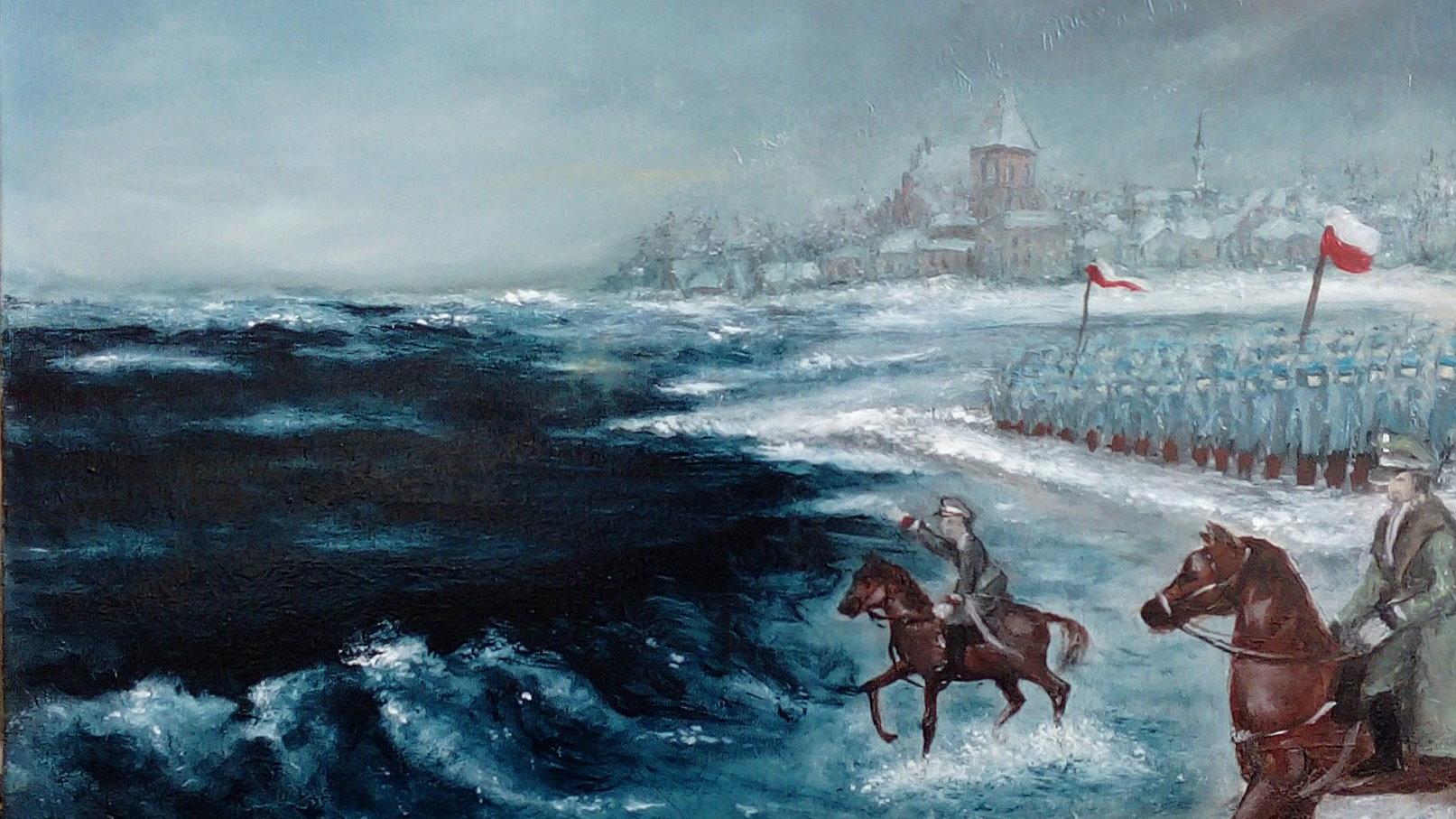 Obraz przedstawiający armię polską nad morzem