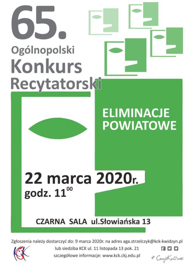 Plakat 65. Ogólnopolskiego Konkursu Recytatorskiego