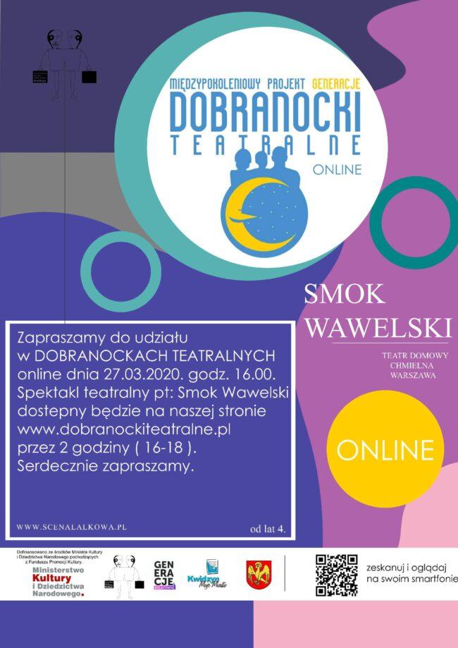 "Plakat Dobranocki Teatralnej ""Smok Wawelski"""