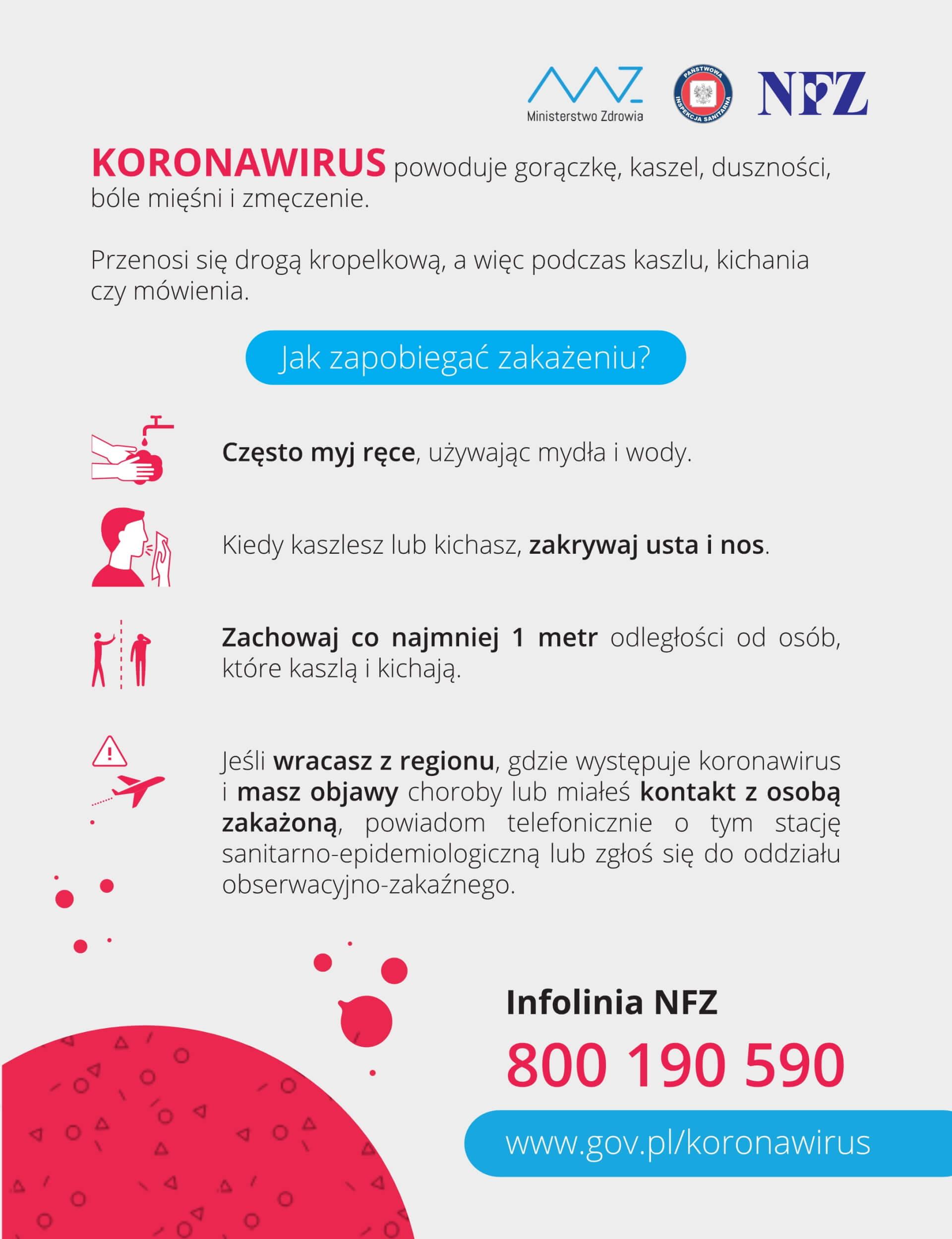 Ulotka zawierająca informacje na temat koronawirusa