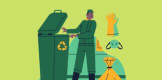 Grafika mężczyzny wywożącego odpady